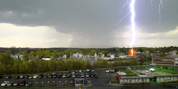 Pat Giarrizzo of Lisbon shot this picture of a lightning bolt striking a tree from a top-floor office window at Central Maine Medical Center in Lewiston on May 7. Giarrizzo, a LifeFlight pilot, was at work when the quick-moving storm rolled through around 2:20 p.m.