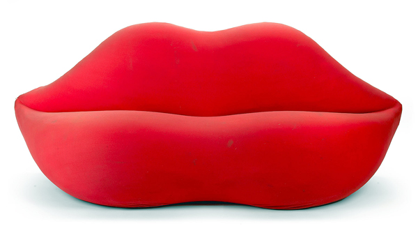 The &quotMarilyn&quot sofa from the 1970s brought $1,830 in a recent sale of 20th C. decorative arts at Bonhams and Butterfields in Los Angeles.
