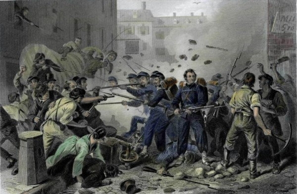 Massachusetts soldiers and a pro-Confederacy mob battled on Baltimore streets on April 19, 1861.