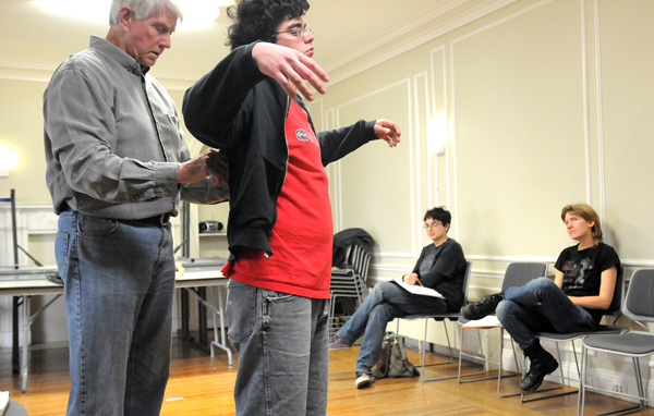 """David Hales as Bourienne (left) and Alex Depavloff as Napoleon rehearse their parts in Alicia Hynes' (right) play """"Contrapposto"""" at the College of the Atlantic in Bar Harbor Wednesday.  Hynes wrote the play as her senior project at the college.  The perfomances will be held on the COA campus at the Gates Community Center  May 26th through the 28th."""