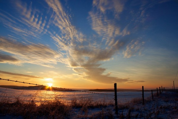 Don Eno of Wallagrass' photo of a sunrise over a snow-covered field in his town was selected as the overall winner of Aroostook County Tourism's Winter Photo Contest.