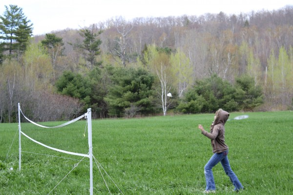 Zoe Perkins, 10, of Searsport swats at the birdie during English sporting events Sunday. The games were a fundraiser for a 16-year-old Monroe girl who is traveling to Ecuador for an educational trip in September.