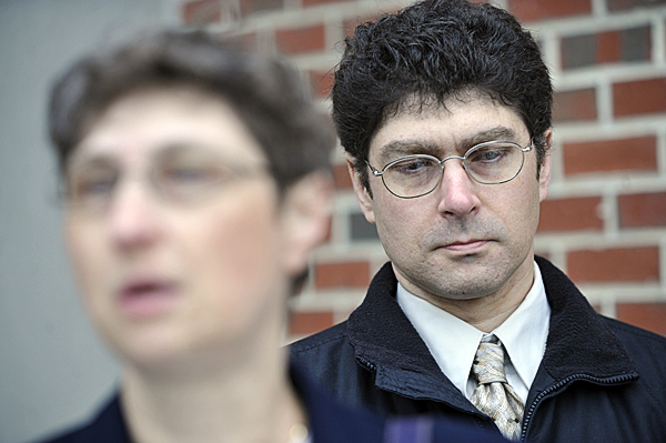Vladek Filler, right, listens to his sister Tatyana Roberts .