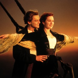 """In this image released by Paramount Home Entertainment, Kate Winslet and Leonardo DiCaprio are shown in a scene from James Cameron's """"Titanic."""""""
