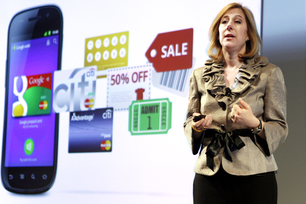 "Google Vice President of Commerce Stephanie Tilenius speaks during a news conference, Thursday in New York.  Google wants the smartphone to be the wallet of the future, a container for digital credit cards, coupons, receipts and loyalty cards that can be ""tapped"" to terminals in stores."
