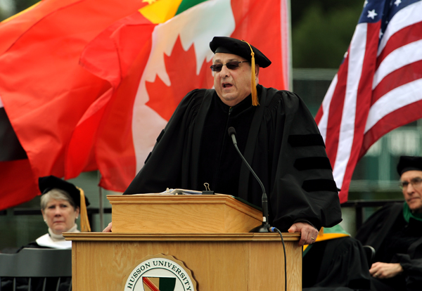 Maine Governor Paul LePage addess graduates during the 112th commencement of Husson University on Saturday at the Bangor campus.