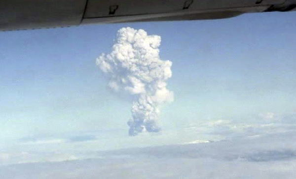 Captured from amateur video, this image shows smoke from the Grimsvotn volcano, Iceland as seen from a plane Saturday. Iceland's most active volcano has started erupting, scientists said Saturday, just over a year after another eruption on the North Atlantic island shut down European air traffic for days.  The impact of this volcanic eruption is not yet known.