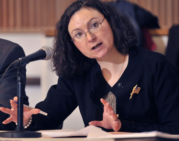 Mila Kofman, former superintendent of the insurance regulation board, speaks at a hearing in Orono, Monday, March 14, 2011.