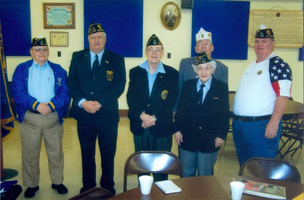 Newly installed officers for American Legion Post 37, District 6, Knox County are (from left) Donald Robishaw, incoming district commander, Rockland Post 1; Ron Rainfrette, 1st vice president, Camden Post 30; Douglas Curtis, 2nd vice president, Rockland Post 1; Marion Gray, adjutant, St. George Post 34; Bill Demmons, finance offier, Thomaston Post 37; Charles Foss (wearing white hat), state Americanism Office, installing officer. Absent when the photo was taken is Jonathan Grout, service officer, Thomaston Post 37.