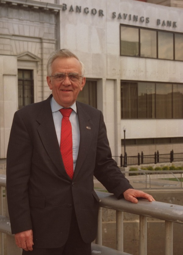 Malcolm E. Jones, former president of Bangor Savings Bank, in 1995. Jones died Sunday at 82.