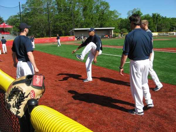 Members of the University of Maine pitching staff, including Jonathan Balentina (center) play hackey-sack to help loosen up for Wednesday's America East Baseball Championship first-round game at Joe Nathan Field in Stony Brook, N.Y.