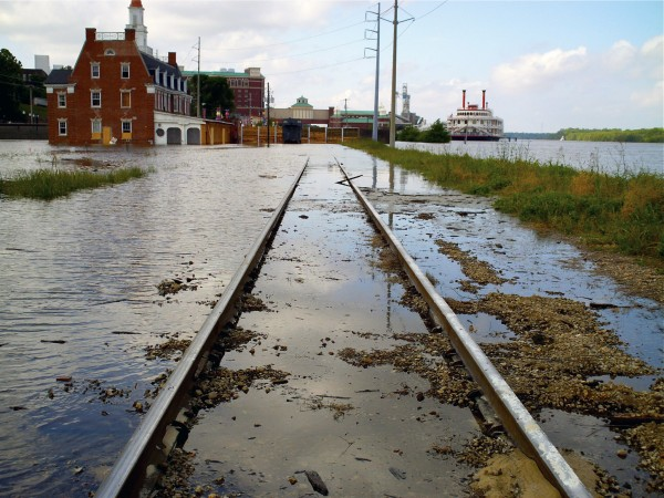 Floodwaters invade downtown Vicksburg, Miss., on Wednesday.