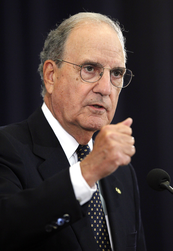 Special Envoy for Middle East Peace George Mitchell briefs reporters at the State Department in Washington in Sept. 2010.
