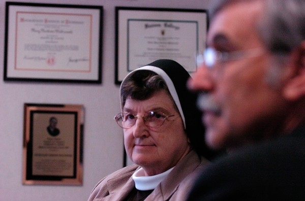 Sister Mary Norberta Malinowski, CEO and President of St. Joseph Healthcare, and Wayne Woodford, Executive Vice President of St. Joseph Healthcare, discuss plans about possible administrative changes during a meeting with the BDN at the hospital Thursday afternoon, June 5, 2008.