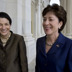 Olympia Snowe and Susan Collins are seen on Capitol Hill in Washington.