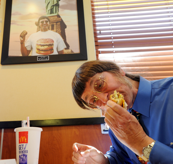 Don Gorske, 59, a retired prison guard, eats his 25,000th Big Mac on Tuesday in his hometown of Fond du La, Wis. Guinness World Records recognized Gorske's feat three years and 2,000 Big Macs ago, but Gorske says he has no desire to stop.