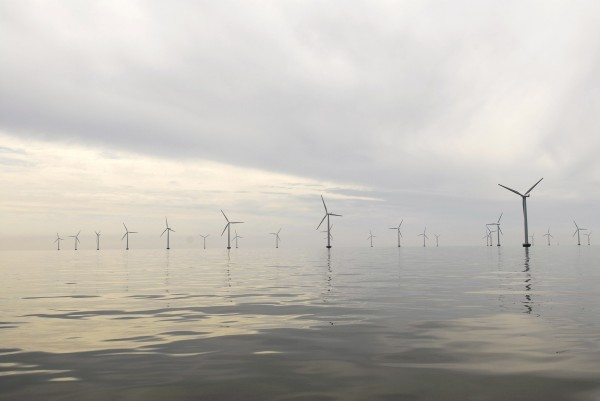 140-foot blades spin in the ocean breeze at the Nysted Offshore Wind Farm in Denmark in August 2008.