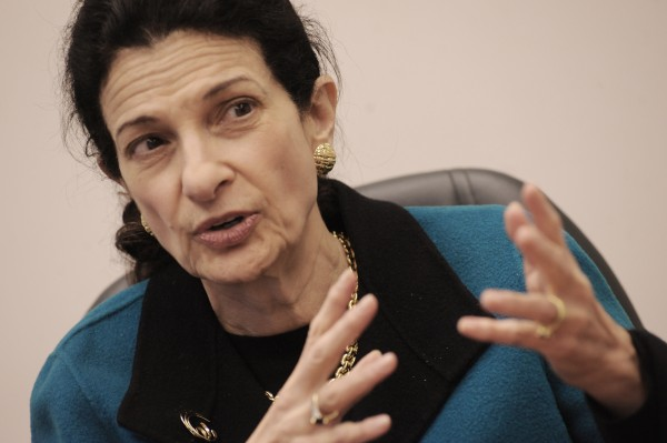 U.S. Senator Olympia Snowe, R-Maine, speaks at the Bangor Daily News in January 2010.