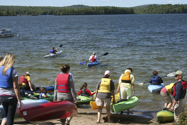 Paddlers getting ready to launch into North Pond at the 2010 Paddle for Pine Tree Camp makeup event.