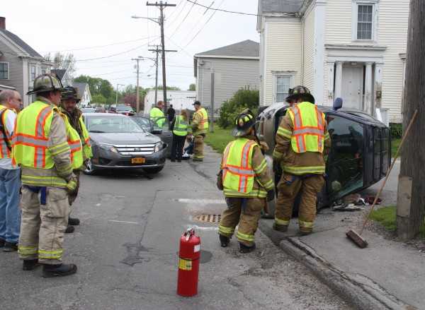 A Subaru was totaled but no one was injured after a two-car collision 2:41 p.m. Sunday at the intersection of Talbot and Union streets in downtown Rockland. Simon Peter Gerhard, 45, of Frankfort, Germany, had been driving in the right-hand southbound lane of Union Street in a 2011 Ford Fusion rental car when he went to turn left on to Talbot Avenue, but instead struck a car driven by Brandy Monroe, 29, of Hope. Monroe's car flipped on its side and was likely totaled. Gerhard's vehicle sustained about $2,500 in damage.