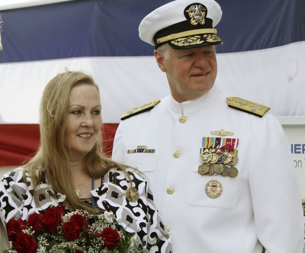 Maureen Murphy (right) mother of Medal of Honor recipient Navy Lt. Michael Murphy, stands with Adm. Gary Roughead, the chief of Naval Operations at a christening ceremony at Bath Iron Works in Bath, Maine on Saturday, May 7, 2011. This would have been Lt. Murphy's 35th birthday.