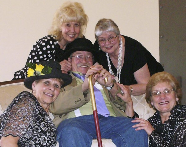 "Members of the Hammond Street Senior Center who are part of the cast of ""The House on Beecher Hill"" are (from left) Bunny Gibson, Trena Sumner, Anne Spencer, Brenda Boardman, who all play ""Girls from the Club,"" and Paul Rich, as Uncle Henry (center)."