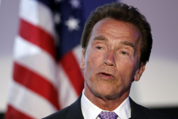 Arnold Schwarzenegger speaks at the Israel 63rd Independence Day Celebration hosted by the Consulate General of Israel in Los Angeles, Tuesday, May 10, 2011. Schwarzenegger was honored at the event.