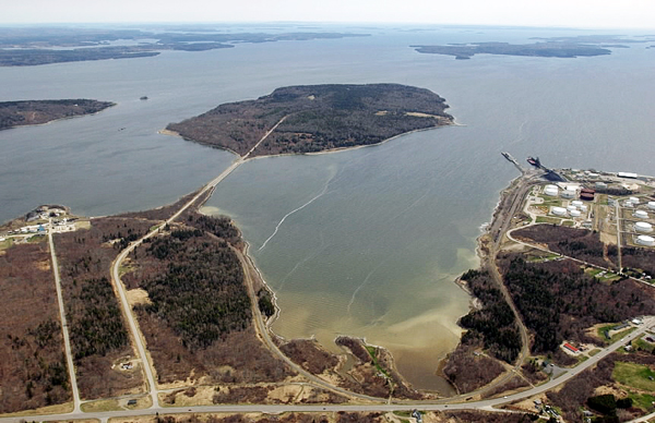 A causeway bends to the right, connecting the mainland to 941-acre Sears Island in Searsport on Penobscot Bay.