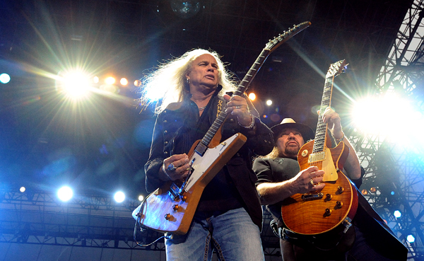 Members of the southern rock band Lynyrd Skynyrd Rickey Medlocke (left) and Gary Rossington during the band's concert at the Bangor Waterfront Thursday evening.