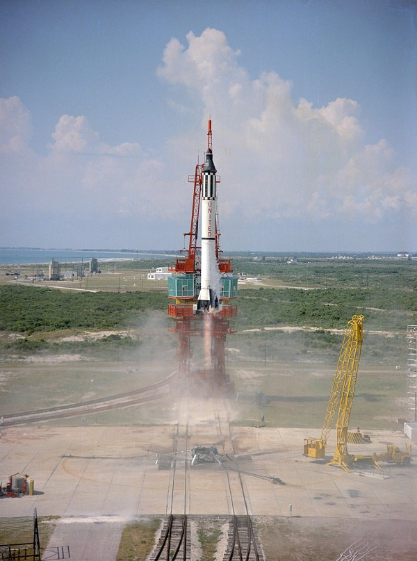The Freedom 7, manned by U.S. astronaut Alan B. Shepard  Jr., is seen during liftoff on May 5, 1961, from the Kennedy Space Center at Cape Canaveral, Fla.