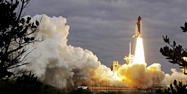The space shuttle Endeavour lifts off from Kennedy Space Center in Cape Canaveral, Fla., Monday.