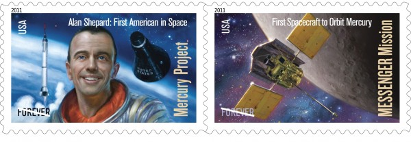 Illustrations of Alan Shepard and the first spacecraft to orbit Mercury are on the new Forever postage stamps.