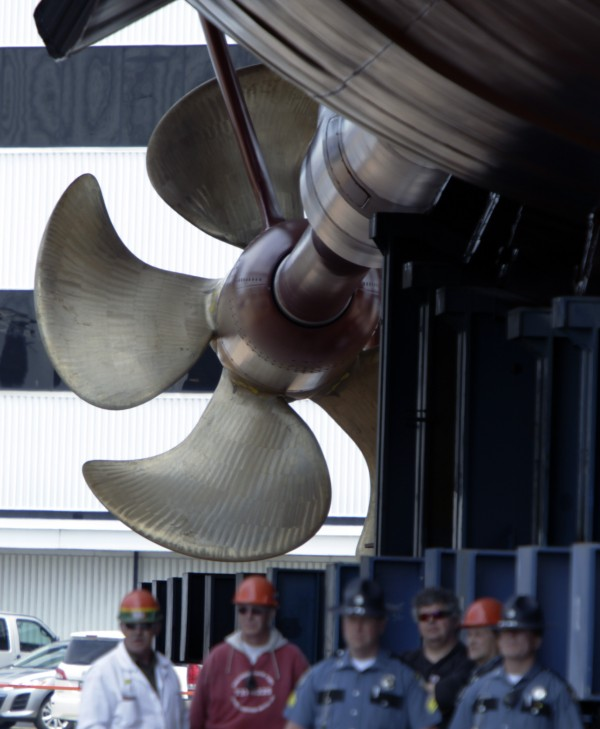 "The propeller is seen during the christening of the ""Murphy"" which is the last-in-a-series of Arleigh Burke-class destroyers, at Bath Iron Works shipyard, in Bath on Saturday. Shipbuilders are turning their attention to construction of a larger, stealthier ship that's three times more expensive."