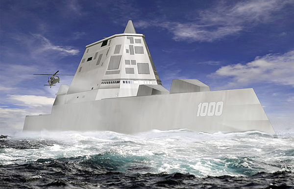 The DDG-1000 Zumwalt, the U.S. Navy's next-generation destroyer, shown in this rendering, has been funded to be built at Bath Iron Works in Maine and at Northrop Grumman's shipyard in Pascagoula, Miss.