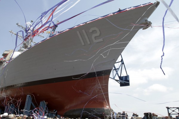 "The christening of the ""Murphy"" is the last-in-a-series of Arleigh Burke-class destroyers, at Bath Iron Works shipyard, in Bath on Saturday. Shipbuilders are turning their attention to construction of a larger, stealthier ship that's three times more expensive."
