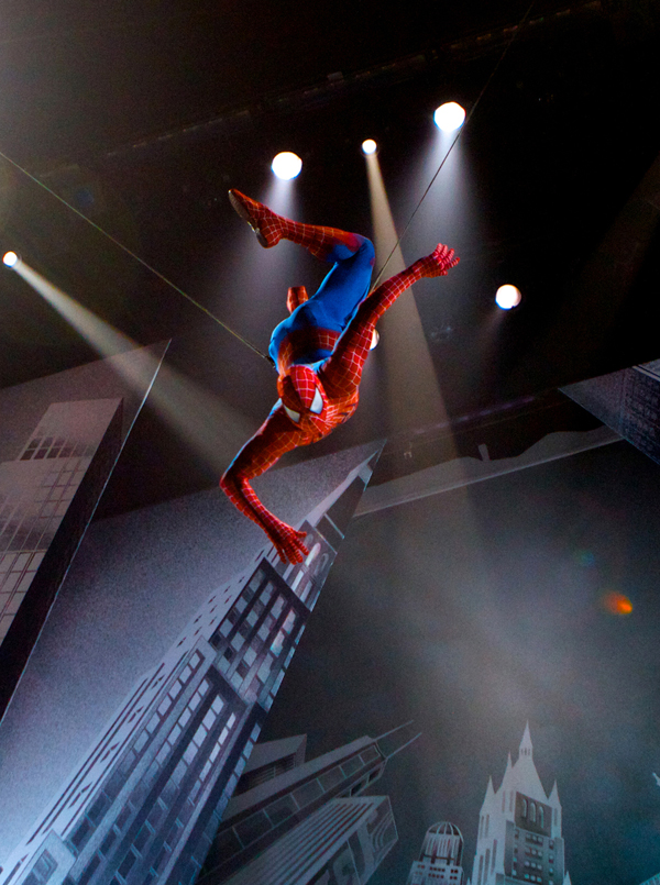 In this theater publicity image released by The O and M Co., Christopher Tierney portrays Spider-Man in a scene from the musical &quotSpider-Man: Turn Off the Dark,&quot in New York.