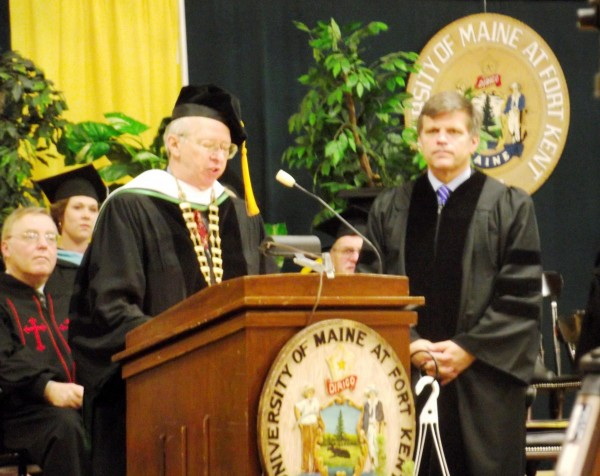 "Wilson Hess (left) the president of the University of Maine at Fort Kent, prepares to present Dr. Douglas Brinkley with an honorary doctorate of humane letters during the college's 129th Commencement exercises on Saturday, May 7, 2011. In his keynote address to students, Brinkley urged students to be ""very proud of the localism of being from Maine and living where you live."""