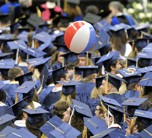 The 209th Commencement was not complete without the arrival of the beachball in the throng at the Alfond Arena Saturday.