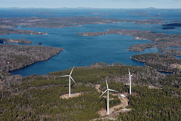 The three wind turbines of Fox Islands Wind Project on Vinalhaven are seen in an aerial photo looking to the northwest.