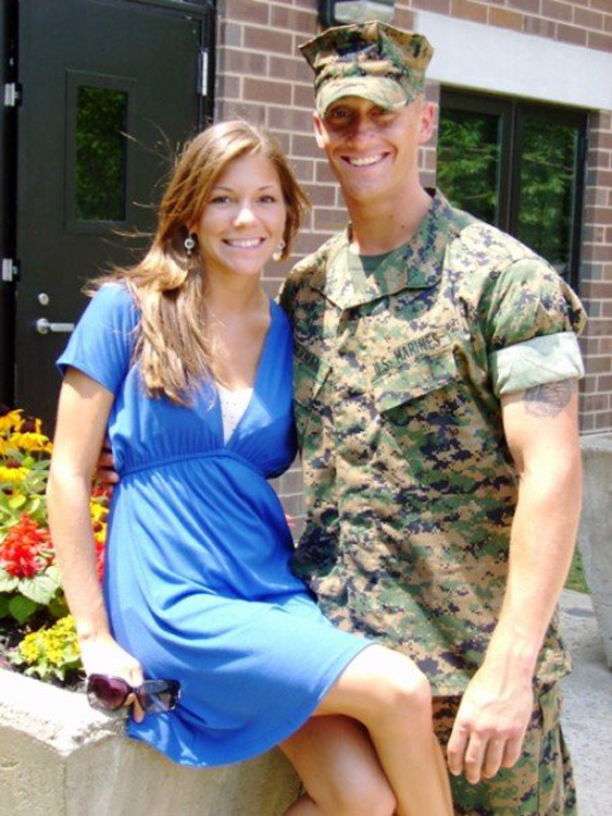 Lynel Winters, who completed a marathon in Oct. 2011 in her husband's honor, with her husband 1st Lt. James Zimmerman at his Officer Candidate School Graduation, Quantico, Va., in July 2007.