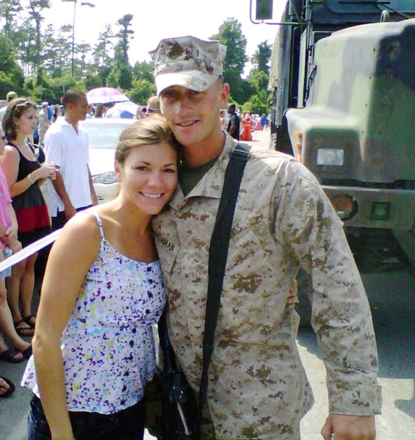 Lynel Winters and her husband 1st Lt. James Zimmerman in June  2010 Day of Deployment, Camp Lejeune, NC.