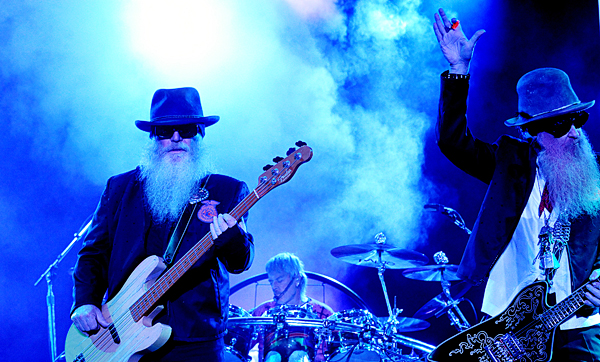 Members of the band ZZ Top Billy Gibbons (right), Dusty Hill, (left) and Frank Beard perform at the the Bangor Waterfront Thursday evening.