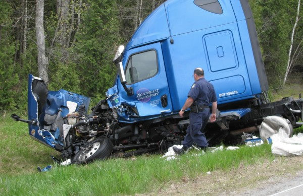 73-year-old Philip Rose of Machiasport was killed Wednesday afternoon, May 11, 2011, after colliding with this tractor-trailer cab on Route 1 in Belfast. The driver of the truck, Edson Spear, 65, of Friendship, appeared to be fine, according to police.