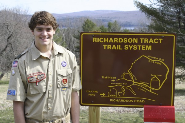 Adam Strang of Orrington has earned the rank of Eagle Scout. For his service project, he planned and constructed three miles of hiking trails in the Olin Richard Tract in Orrington.