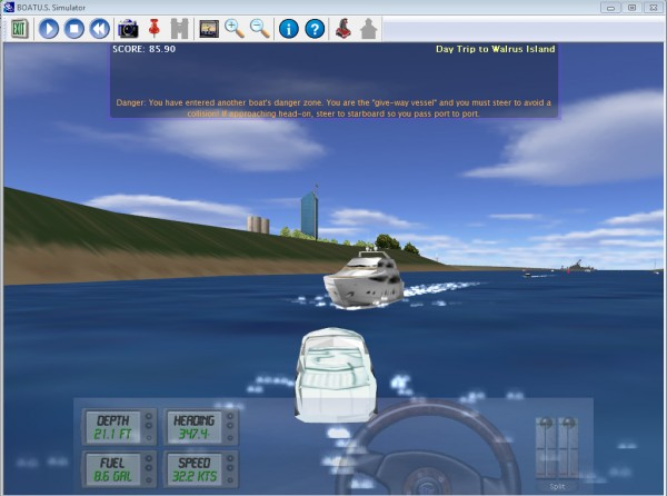 Screen shot of the BoatUS boating simulator