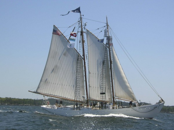 The schooner Bowdoin heads down the Bagaduce River and out of Castine Harbor Thursday at the start of a two-month training cruise that will take the boat, 11 students and five crew members above the Arctic Circle.