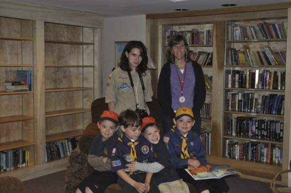 Wolf Cub Scouts from Cub Scout Pack 233 of Unity (front row, from left) Henry Spaulding, Caleb Raven, Luke Raven, Jacob Spaulding, collected beverage can tabs as a fundraiser for Ronald McDonald House in Bangor. With them are (back, from left) Wolf den leader Jenn Raven and Tara Monk, weekend manager of Ronald McDonald House.