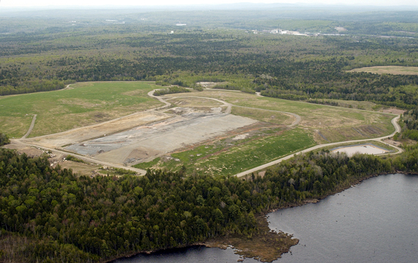 The Dolby landfill along the banks of Dolby Pond near GNP's former East Millinocket facility.