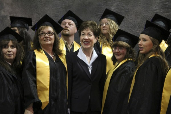 Seniors in the Medical Assisting Program at Eastern Maine Community College accept congratulations from U.S. Sen. Susan Collins on May 21 before commencement ceremonies at Bangor Civic Center. Pictured are (from left) Angela Oldham, Dot Tardiff, Rodney Hallett, Senator Collins, Cindy Roper, Angie Barnett and Jen Antone.