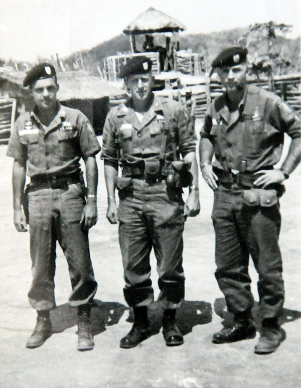 Capt. Herbert F. Hardy, Jr. (center) is pictured in this black and white photo with Command Sergeant Major William E. Edge (right) and another fellow platoon member while they trained in the mountains of Vietnam. On March 4, 1964 Capt. Hardy was killed in action on the Cambodian border while serving in Vietnam. Capt. Hardy is one of many Maine soldiers that will be honored on Memorial Day.